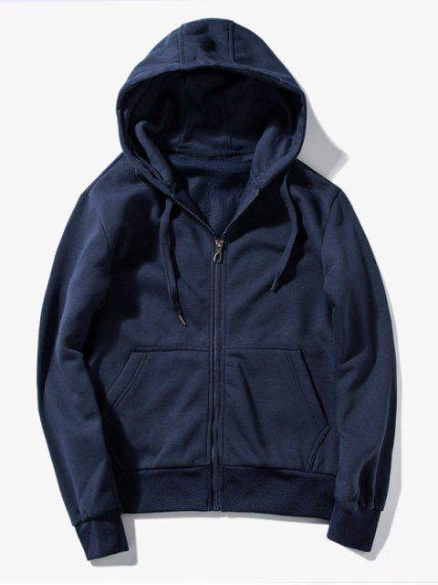 Drawstring Kangaroo Pockets Zip Up Hoodie - Schwarzblau L Mobile