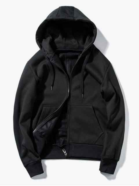 chic Drawstring Kangaroo Pockets Zip Up Hoodie - BLACK L Mobile