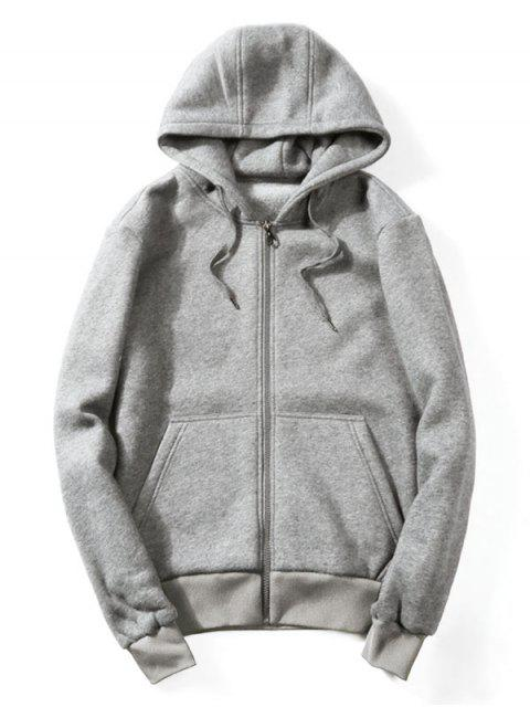 affordable Drawstring Kangaroo Pockets Zip Up Hoodie - GRAY L Mobile