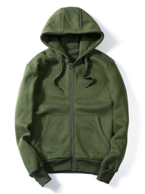 womens Drawstring Kangaroo Pockets Zip Up Hoodie - ARMY GREEN 2XL Mobile