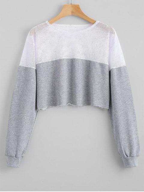 Kontrastiertes Crop Sweatshirt mit Mesh Panel - Grau L Mobile