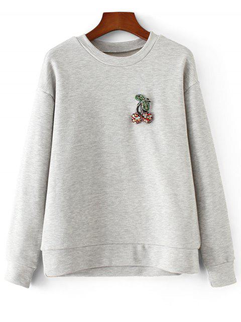 Sweatshirt mit Strass Perlen Patch - Grau M Mobile