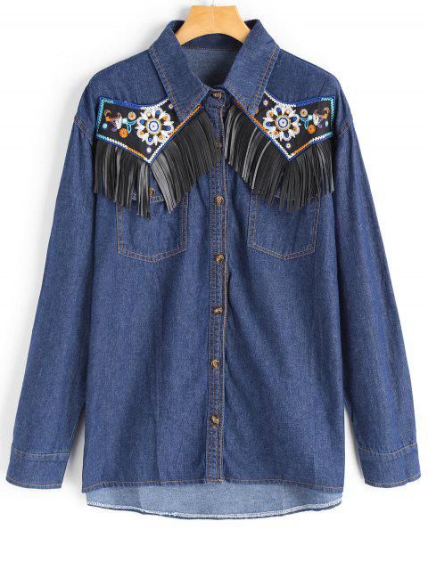 trendy Patchwork Fringed Button Up Chambray Shirt - DEEP BLUE L Mobile