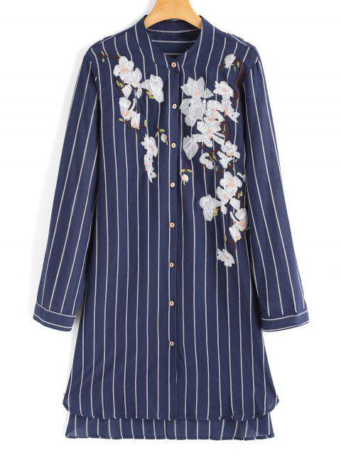 Hohes Niedriges Shirt Kleid mit Blumenstickerei und Streifen - Streifen  Eine Größe Mobile