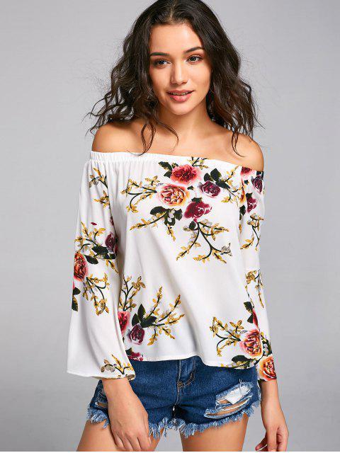 Blouse en Mousseline Florale Épaules Tombantes - Floral XL Mobile