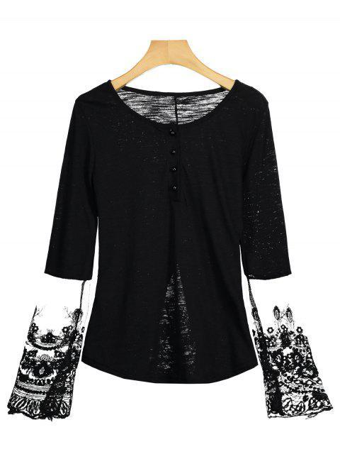 Halb Knopf Maschen Panel T-Shirt - Schwarz M Mobile