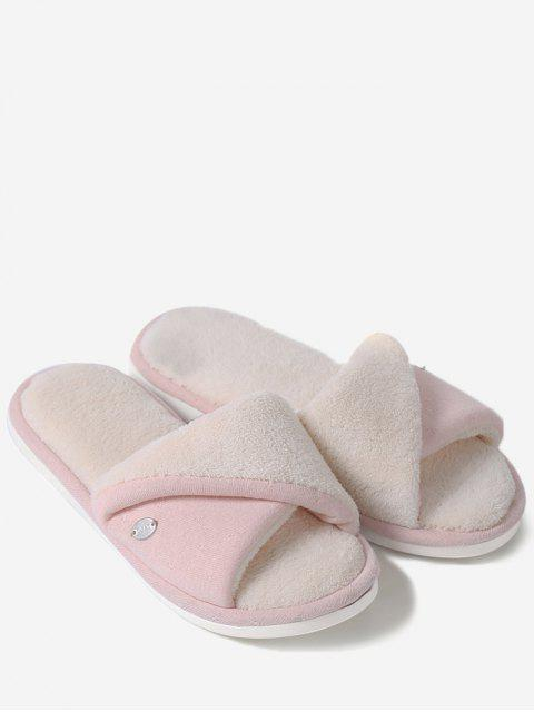 lady Faux Fur Warm Open Toe House Slippers - PINK SIZE(36-37) Mobile