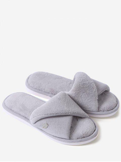 Zapatillas abiertas de la piel del dedo del pie de la piel falsa - Gris Tamaño (36-37) Mobile