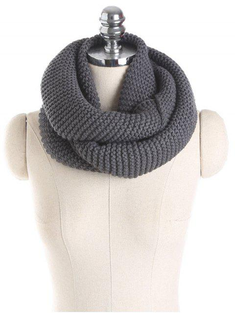 fancy Plain Woolen Yarn Knit Infinite Scarf - DEEP GRAY  Mobile