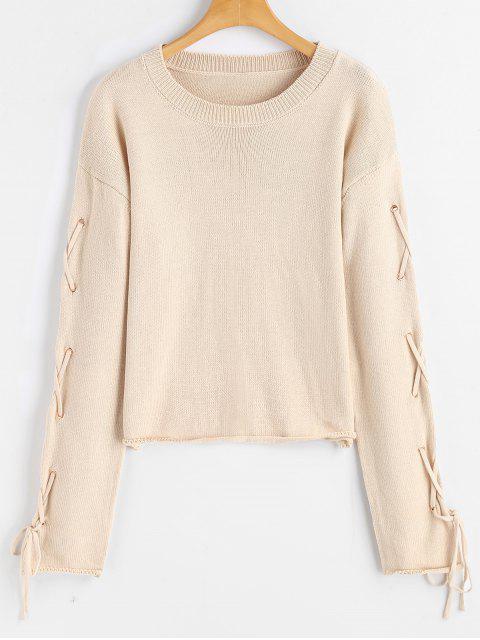 Encaje el suéter cruzado del suéter de Criss - Albaricoque M Mobile