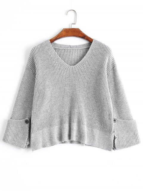 Pull Manches Roulottées à Col en V Oversize - gris TAILLE MOYENNE Mobile