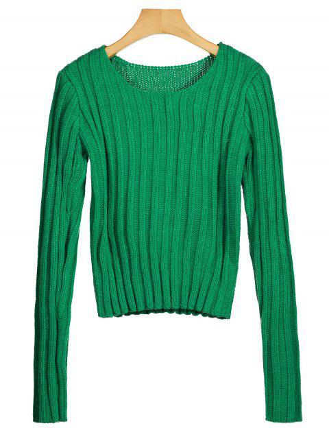 Rundhals Chunky Pullover - Grün Eine Größe Mobile
