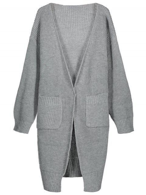 Lange Strickjacke mit Seitlichem Schlitz und Frontöffnung - Grau Eine Größe Mobile