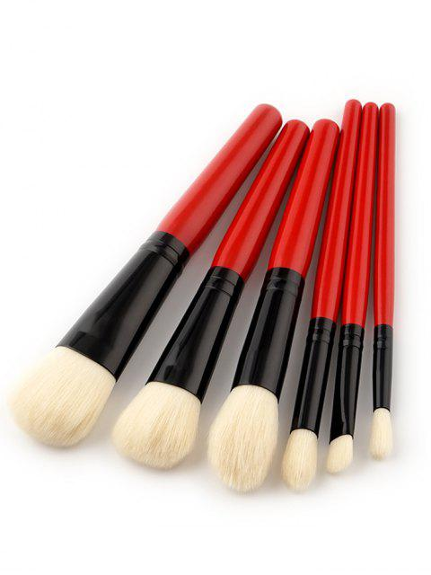 6 PCS Ensemble Pinceau Maquillage à Deux Tons - Rouge  Mobile