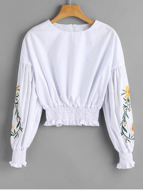 Blouse brodée à fleurs et smockée - Blanc XL Mobile
