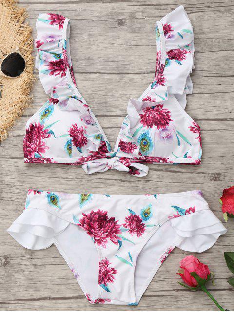 Hundiendo cuello volantes traje de baño floral - Blanco M Mobile