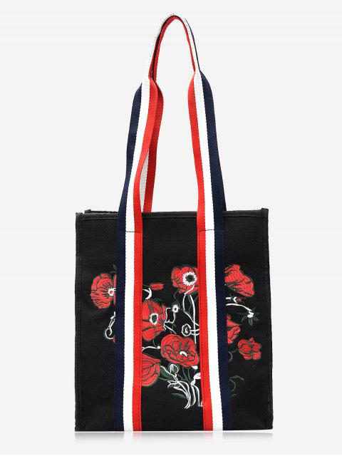 buy Striped Embroidery Flower Color Block Handbag -   Mobile