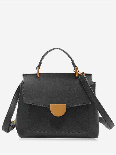 outfits Metal Embellished PU Leather Crossbody Bag - BLACK  Mobile