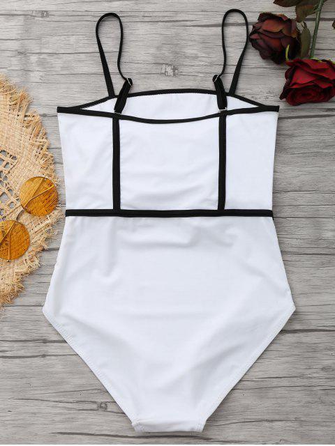 Cami Piping Traje de baño de una pieza - Blanco S Mobile