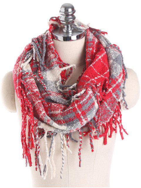 sale Plaid Tassel Ring Scarf - RED  Mobile