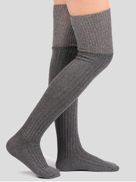 hot Plain Ribbed Knitted Stockings - GRAY  Mobile