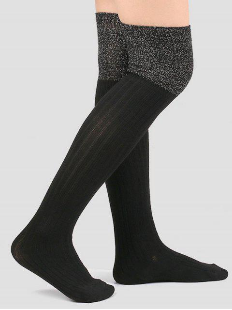 outfit Plain Ribbed Knitted Stockings - BLACK  Mobile
