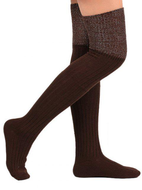 shop Plain Ribbed Knitted Stockings - COFFEE  Mobile