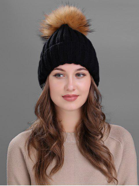 shop Outdoor Fur Pom Ball Knitting Beanie -   Mobile