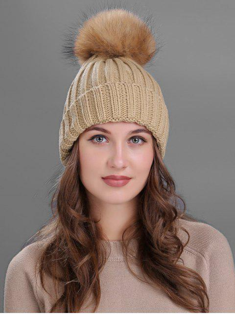 affordable Outdoor Fur Pom Ball Knitting Beanie -   Mobile