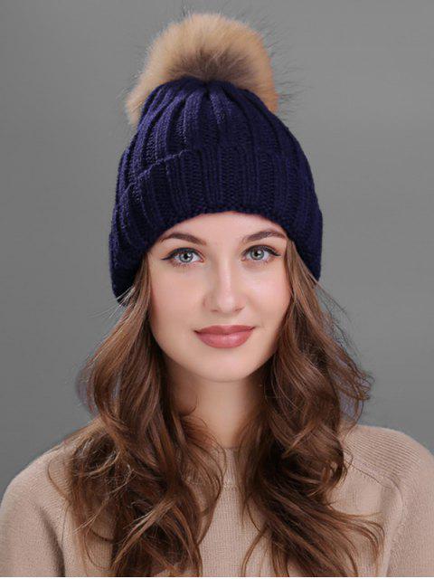 womens Outdoor Fur Pom Ball Knitting Beanie - CADETBLUE  Mobile