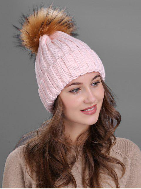 ladies Outdoor Fur Pom Ball Knitting Beanie -   Mobile