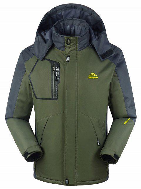 Forro de piel bloque de color cremallera chaqueta de viento - Verde del ejército M Mobile