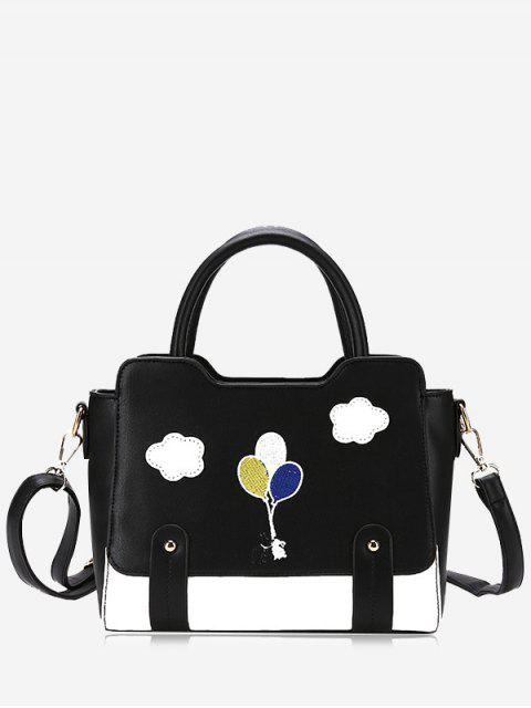 Patchwork Color Block Remaches Crossbody Bag - Negro  Mobile