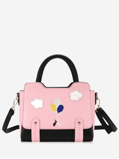 Patchwork Color Block Remaches Crossbody Bag - Rosado  Mobile