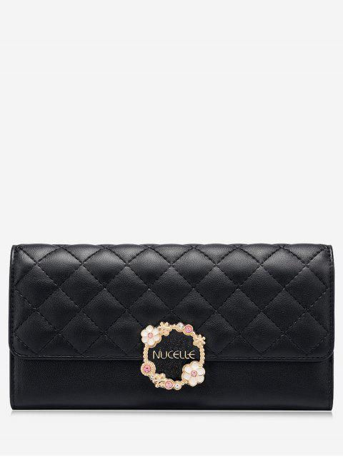 sale Quilted Flower Wallet - BLACK  Mobile