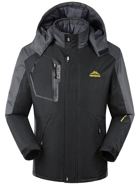 Forro de piel bloque de color cremallera chaqueta de viento - Negro M Mobile