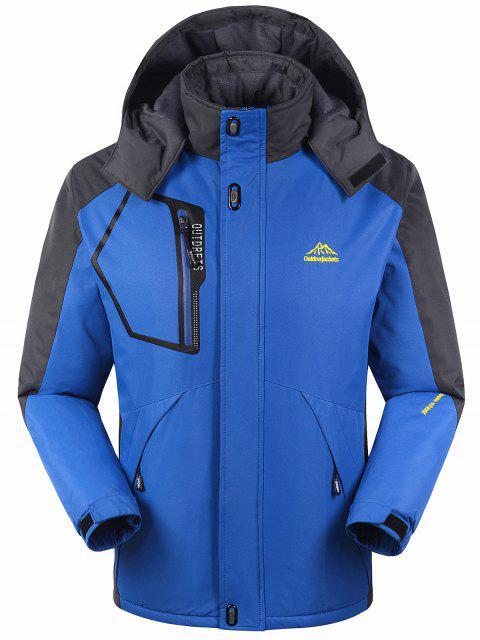 Forro de piel bloque de color cremallera chaqueta de viento - Azul M Mobile
