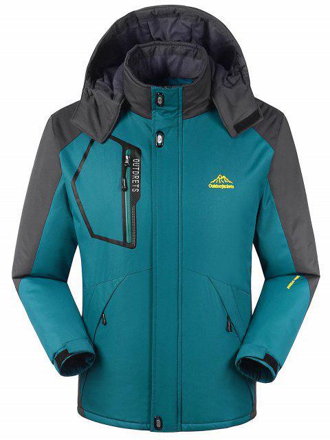 Forro de piel bloque de color cremallera chaqueta de viento - malaquita verde M Mobile