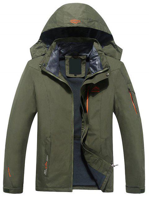 Chaqueta con capucha polar forro polar forrado - Verde del ejército L Mobile