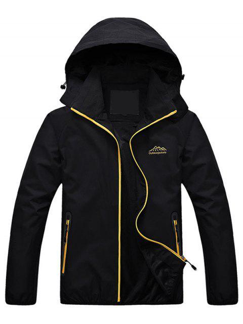 ladies Zippered Hooded Wind Jacket - BLACK XL Mobile