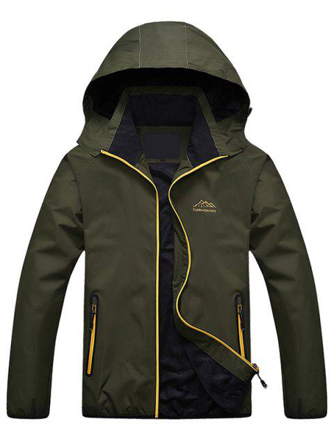 outfit Zippered Hooded Wind Jacket - ARMY GREEN XL Mobile