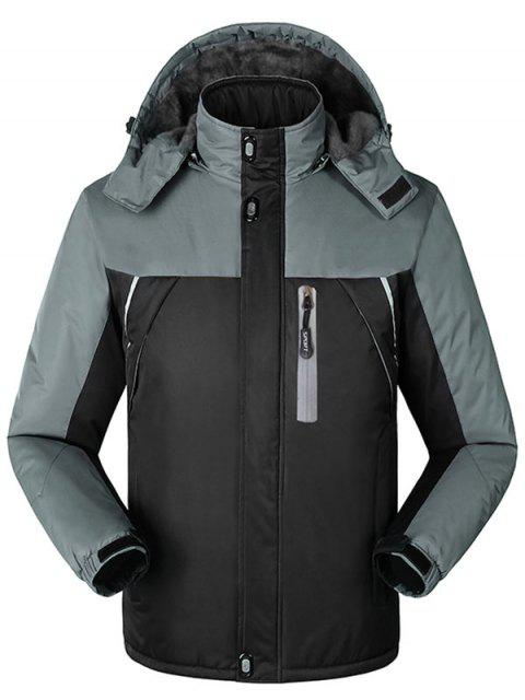 fancy Hooded Fur Lining Hooded Outdoor Jacket - BLACK 4XL Mobile