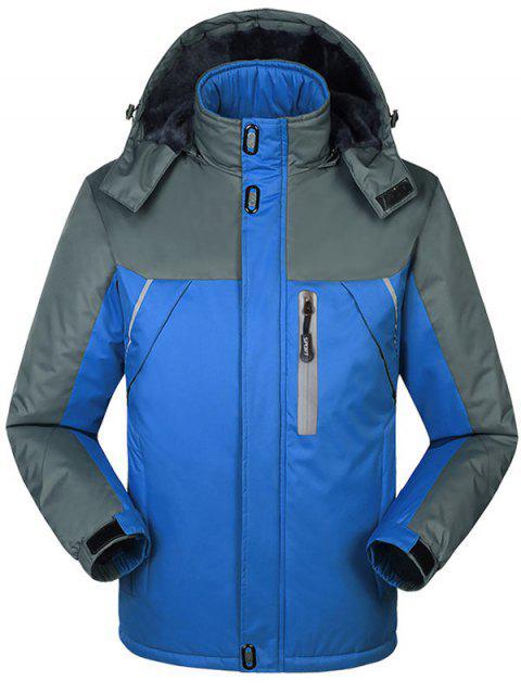 shops Hooded Fur Lining Hooded Outdoor Jacket - BLUE L Mobile