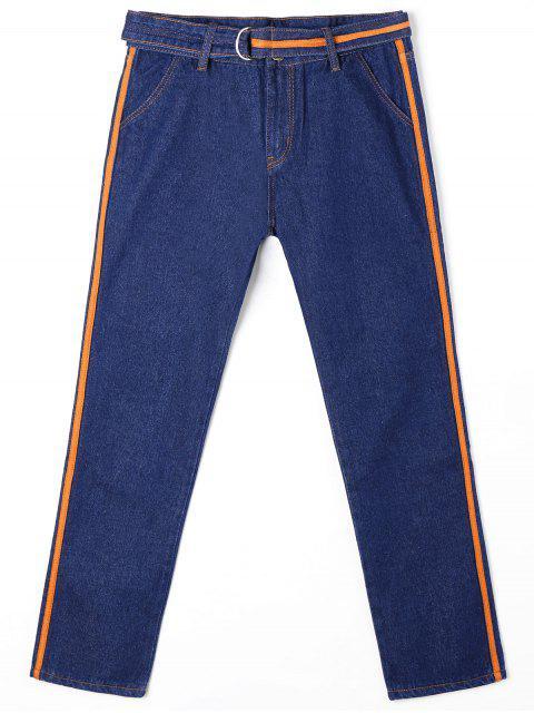 Straight Jeans und Gürtel mit Kontrastbesatz - Blau XL Mobile
