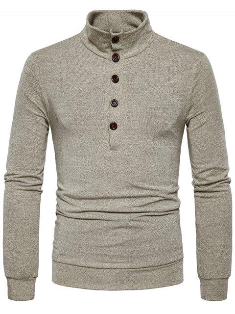 best Stand Collar Buttons Long Sleeve Knitted Sweater - KHAKI S Mobile
