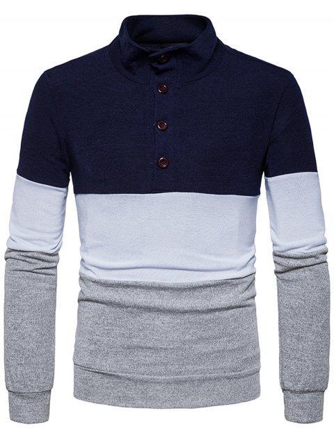 Botones del cuello del soporte Color Block Sweater de punto - Azul Marino  S Mobile