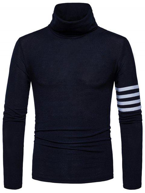 Turtle Neck Stripe Stripe Embellished Knitted Sweater - Azul Marino  S Mobile