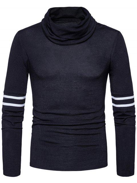 Turtle Neck Gestreiftes Rippchen Gestrickter Pullover - Schwarz M Mobile