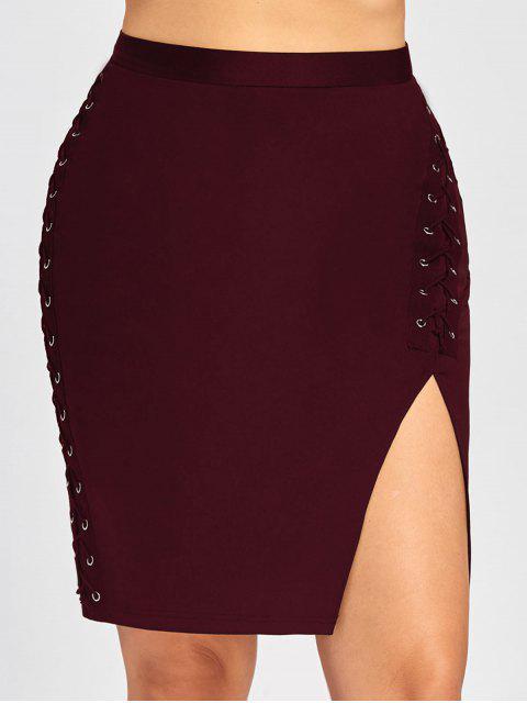 Falda de cintura alta con cintura cruzada - Vino Rojo 5XL Mobile