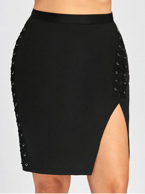 Falda de cintura alta con cintura cruzada - Negro 5XL Mobile